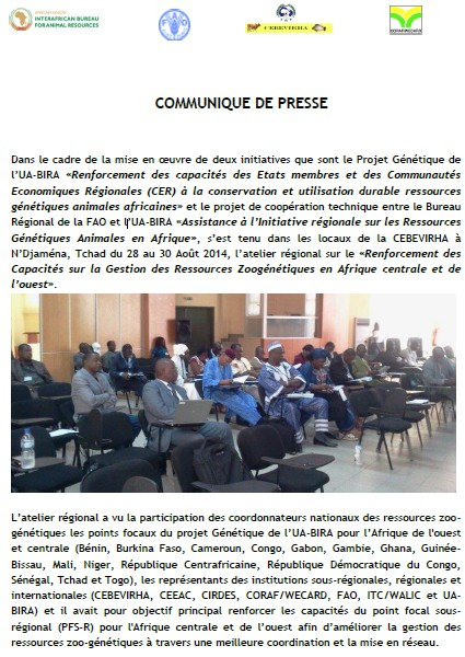 Press release : Regional workshop for the strenthening of capacities for the management of animal genetic resources in Central and West Africa