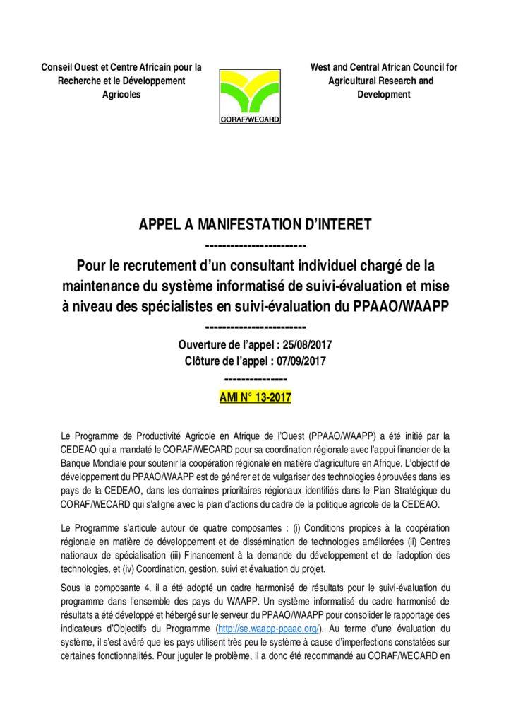 thumbnail of AMI-13-2017-TDRS-Maintenance-Systéme-suivi-évaluation