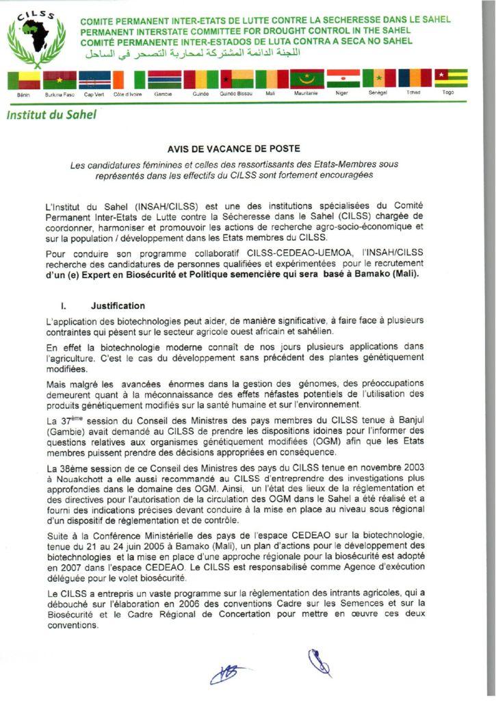 thumbnail of Avis_Vacances_Postes_Expert-Biosecurite_institut_du_sahel