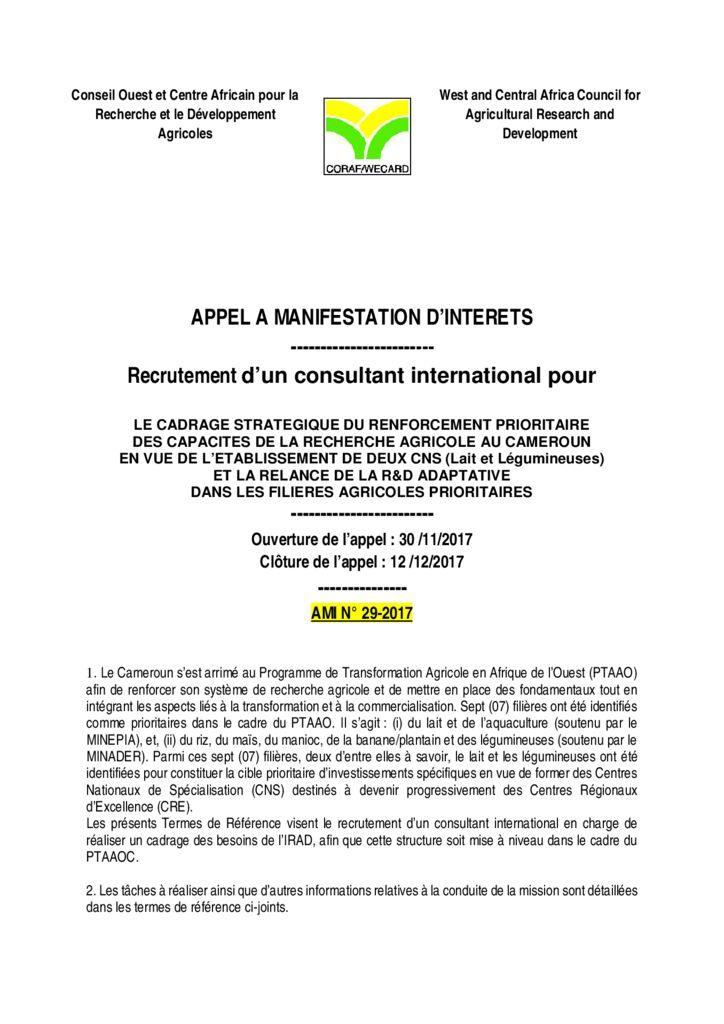 thumbnail of AMI-29-2017-Mission-de-consultation-CNS-au-Cameroun
